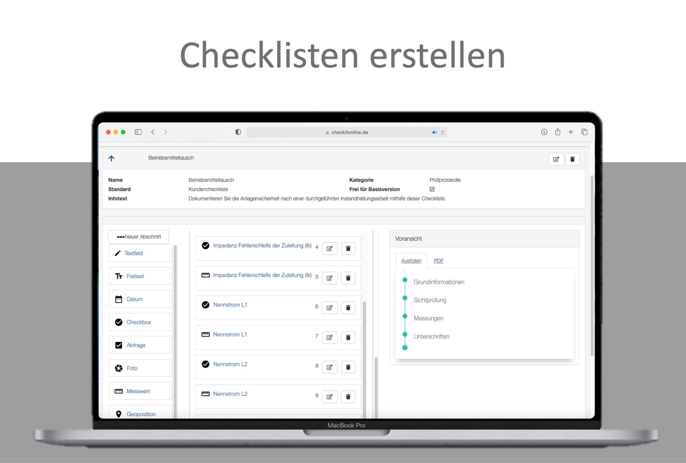 Auf dem Computer können Checklisten erstellt werden.