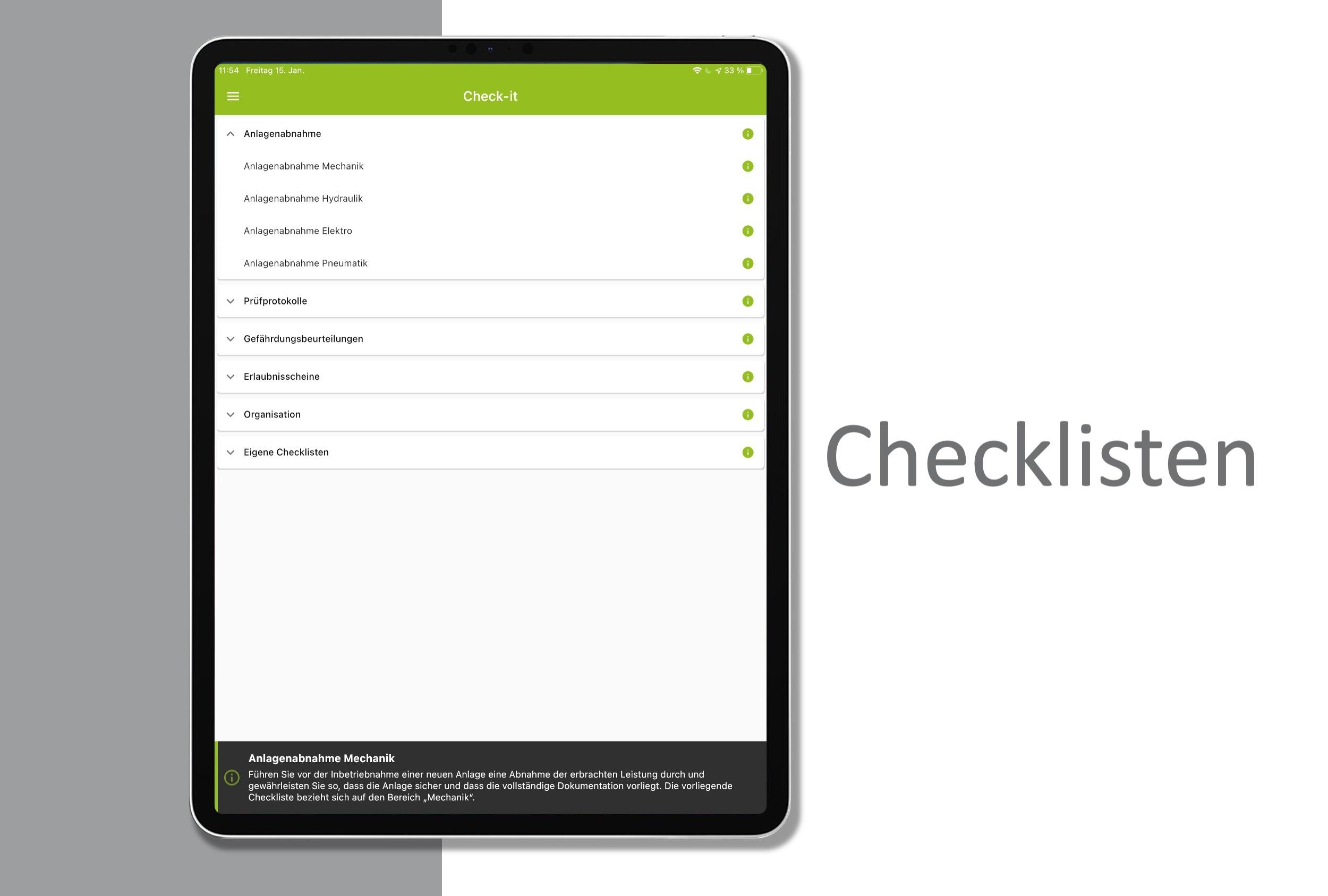Übersicht über vorhandenen Checklisten.