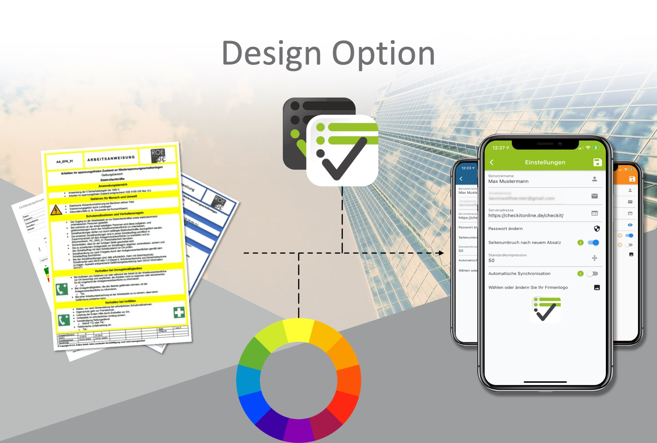 """Durch das Add-On """"Design-Option"""" wird die App farblich angepasst und Dokumente zur Verfügung gestellt."""
