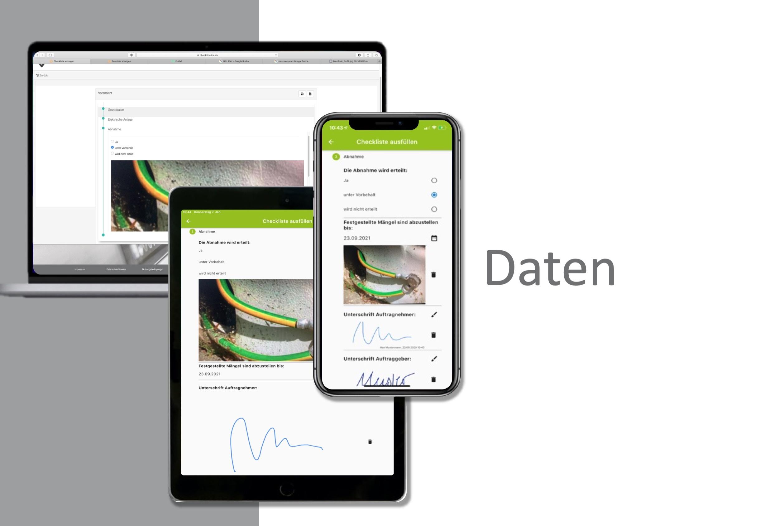 Daten können auf verschiedenen Geräten synchronisiert werden.