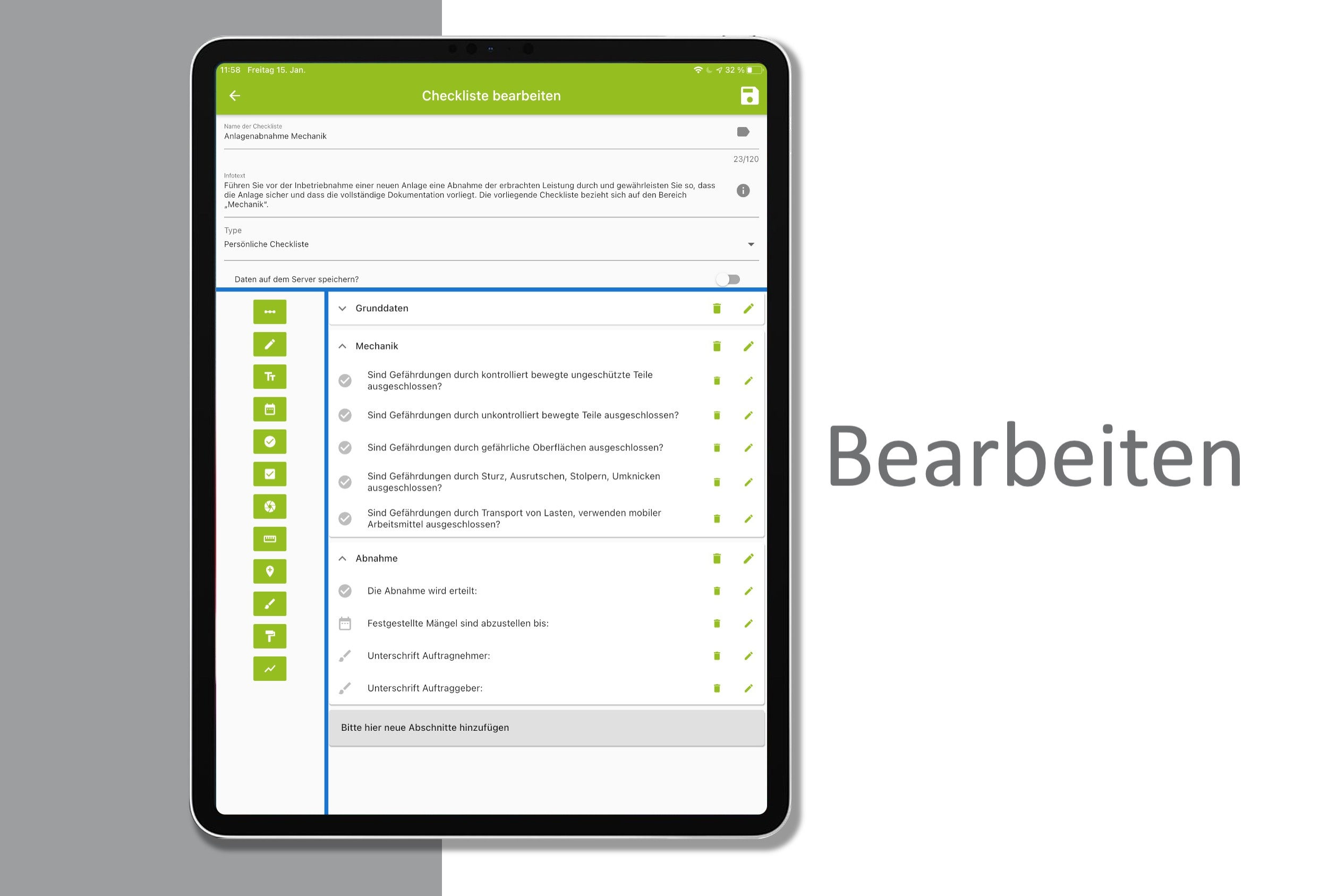 Bearbeiten Sie Checklisten auf Ihrem mobilen Endgerät.