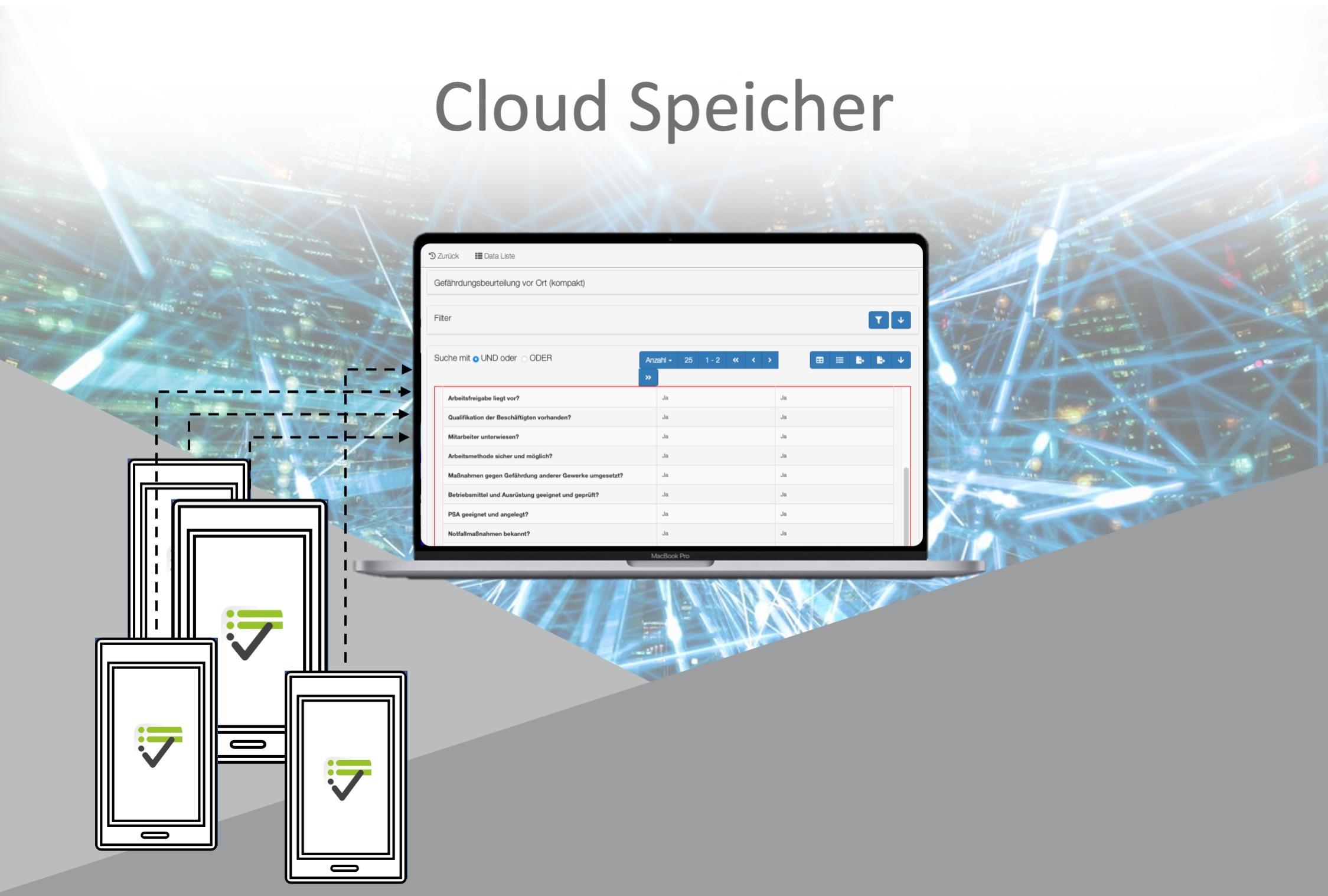 Durch das Add-On Cloud-Speicher werden Checklisten Online gespeichert.