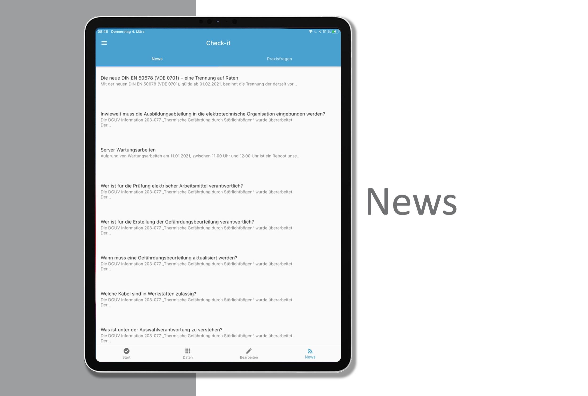 Die App kann 2 verschiedenen RSS-Feeds einlesen.