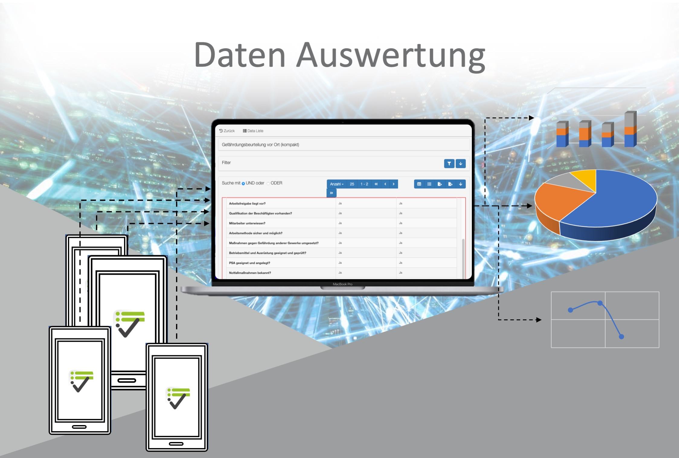 Online gespeicherte Checklisten werden durch das Online-Tool ausgewertet