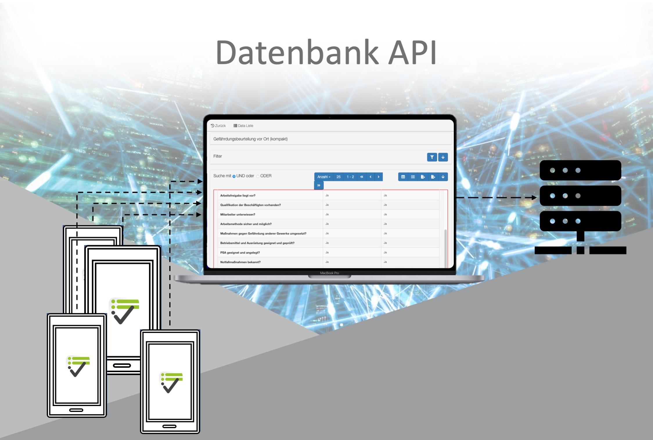 Durch die Datenbank API können Daten auf Ihren eigenes System gesendet werden.