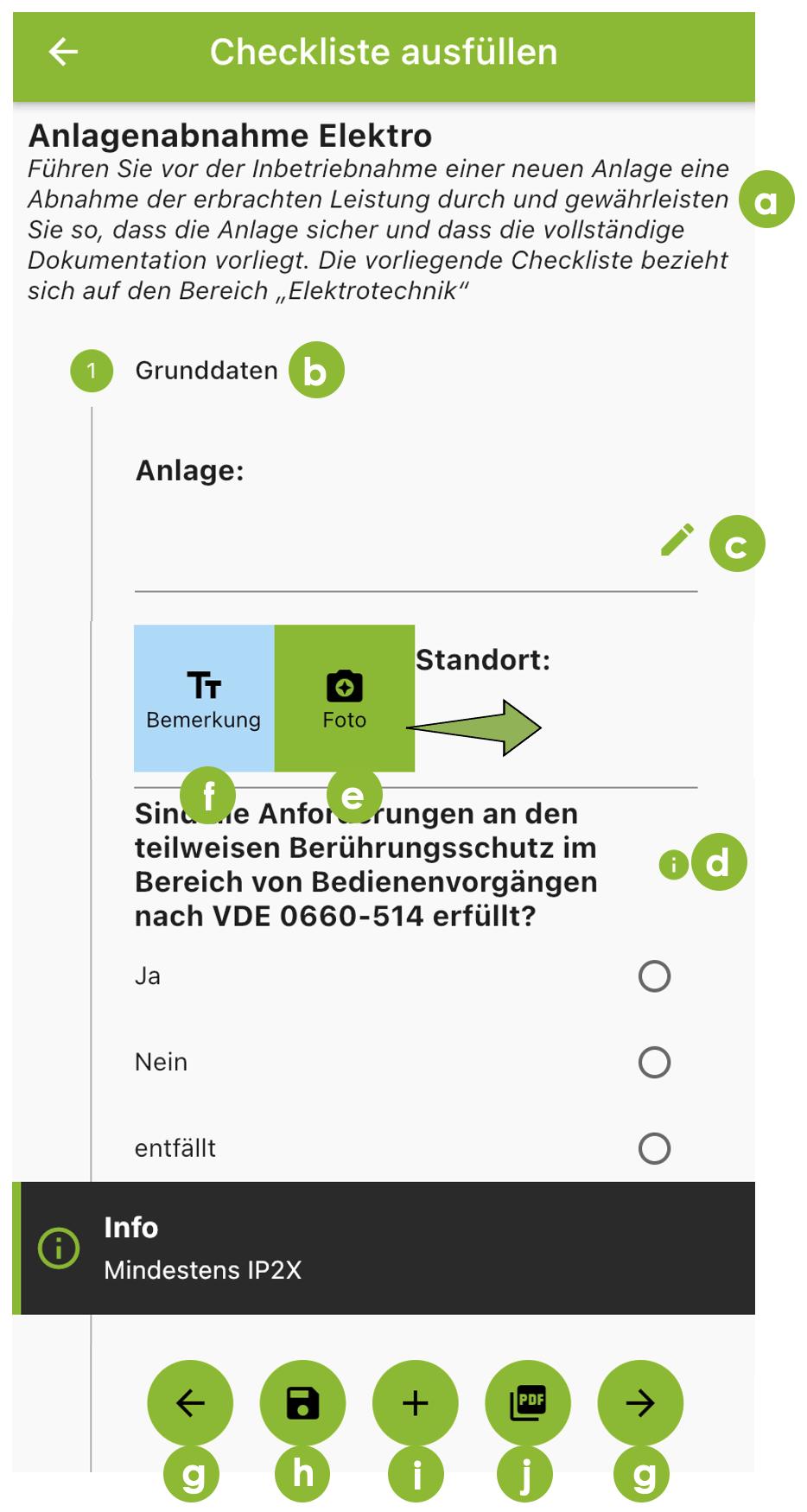 Check-it App Bedienungsanleitung: Weitere Funktionen Checkliste ausfüllen.